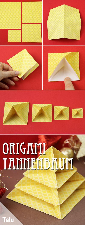 Anleitung - Origami Tannenbaum basteln
