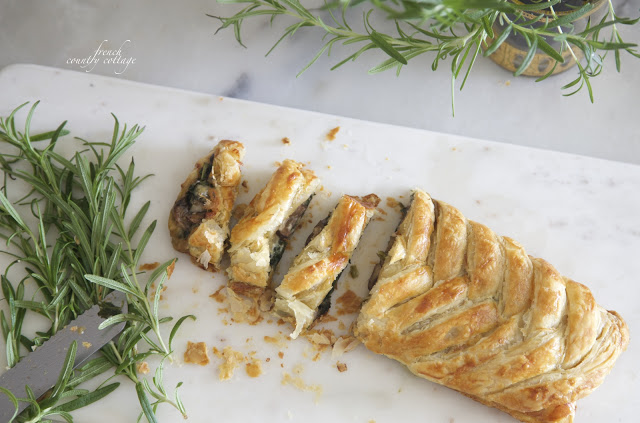 braided pastry with mushrooms and rosemary