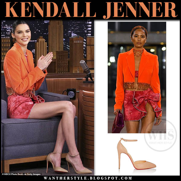 Kendall Jenner wore orange crop jacket, pink mini velvet skirt and beige ankle strap christian louboutin heels february 2019