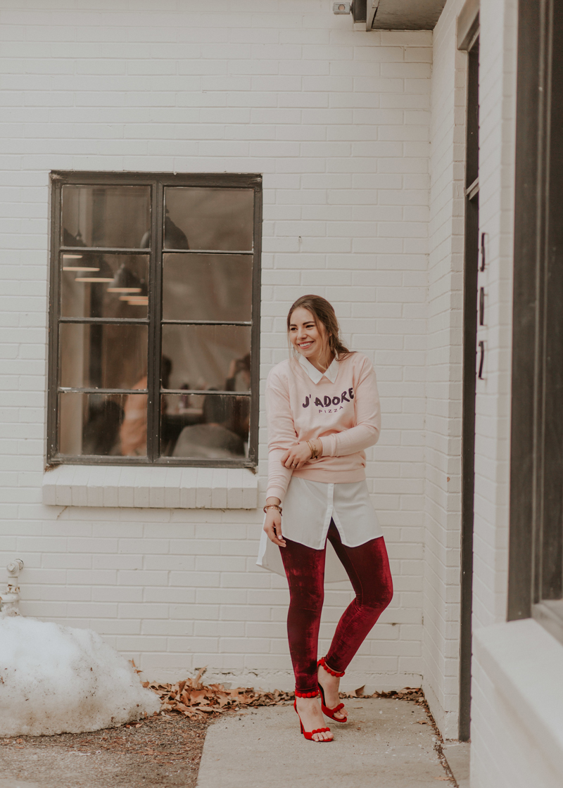 velvet leggings, valentines outfit, valentine's day outfit