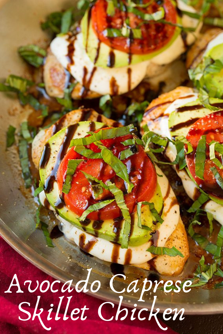 Avocado Caprese Skillet Chicken Recipe