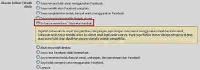 langkah ketiga cara Menonaktifkan Akun Facebook Sementara