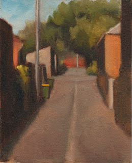 Oil painting of green plastic bins in a laneway bordered by buildings and trees.