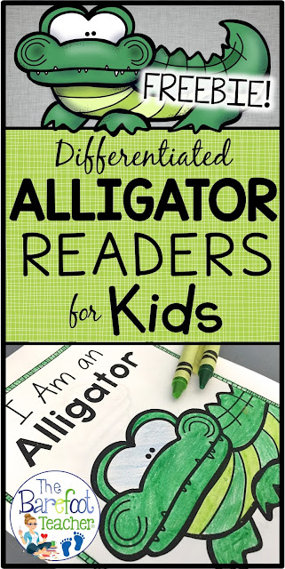 This FREE non-fiction, differentiated readers download will go along with the other activities, crafts, and ideas you have planned for your kids this season. Help your Kindergarten or First Grade students develop their reading abilities while learning about aliigators. The last page incorporates writing as students recall facts they learned. Try one out for FREE! #alligator #emergentreaders #freedownload #kindergarten #firstgrade #writing #emergentreaders