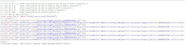 código fuente de la web de Air Europa