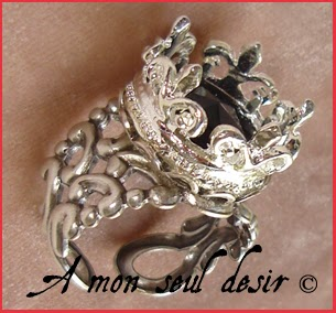 Bague gothique couronne reine crown queen silver gothic goth ring Black Majesty