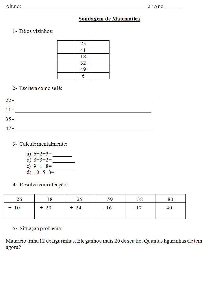 Favoritos Sondagem de Matemática 2º ano — SÓ ESCOLA AP23