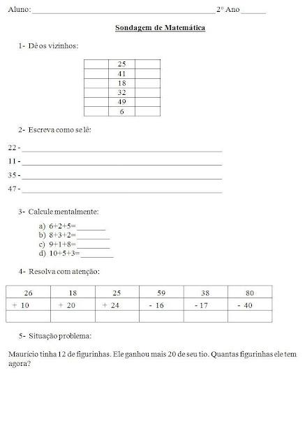 Sondagem de Matemática 2º ano