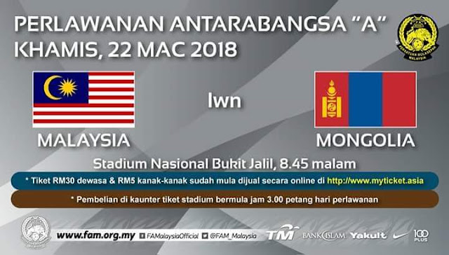 Live Streaming Malaysia vs Mongolia 22.3.2018 Friendly Match