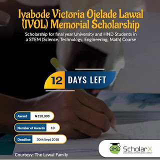 IVOL Memorial Scholarship for Final Year & HND Students - 2018