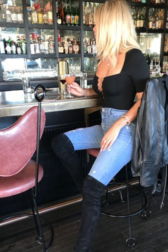 Lace-Up Square Neck Bodysuit + High Skinny Jeans + Boots
