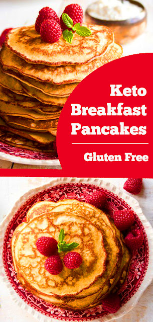 Keto Breakfast Pancakes - Deliciously light and fluffy Keto Low Carb pancakes! This almond cream cheese pancake recipe is the most popular recipe on Pinterest. These almond cream cheese Keto pancakes are a healthy sugar free & gluten free breakfast choice. #keto #lowcarb #pancakes #breakfast #sugarfree #glutenfree