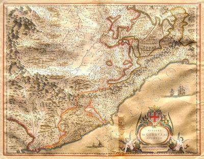 Mappa seicentesca della Riviera ligure di Ponente - antiquariato