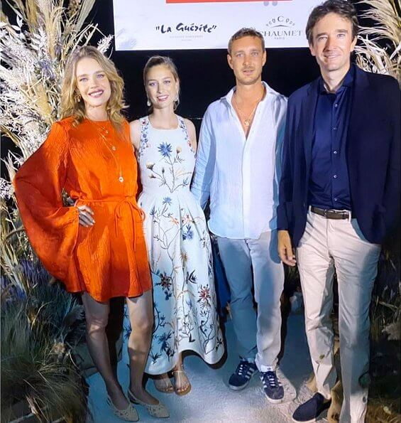 Beatrice Borromeo wore a floral print dress from Christian Dior Spring 2020 ready-to-wear collection. Natalia Vodianova at La Guérite in Cannes