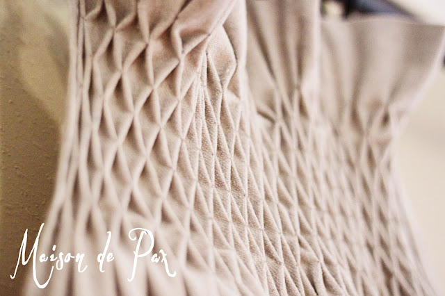 close up view of smocked drop cloth curtains- Maison de Pax