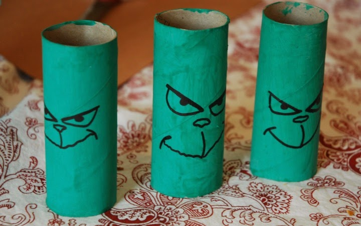 Cardboard Tube (Toilet Paper Roll) Christmas Grinch craft for kids