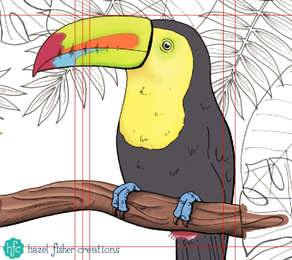 Spoonflower Contest entry - Toucan Tea Towel Calendar design in progress by Hazel Fisher Creations