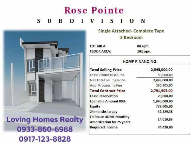 ROSE POINTE SUBDIVISION INSTALLMENT HOMES HOUSE AN DLOT SALE IN STA ROSA LAGUNA AFFORDABLE RENT TO OWN HOUSE 2 Bedroom computation