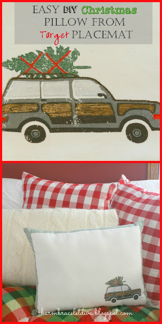 woody station wagon Christmas tree buffalo check pillow