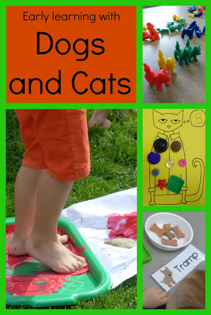 Fun preschool or kindergarten activities and ideas for learning about cats and dogs. (Includes Pete the Cat color walk and groovy button counting)