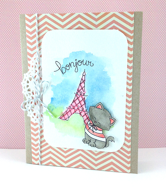 Bonjour Eiffel Tower Kitty Card by Jennifer Jackson | Newton Dreams of Paris stamps by Newton's Nook Designs