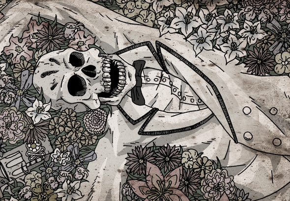 Un esqueleto de esmoquin yace entre las flores.