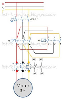Diagram daya motor 3 phasa forward - reverse