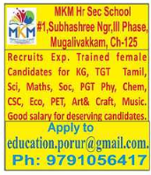 M K M Hr. Sec. School Wanted TGT/PGT Teachers