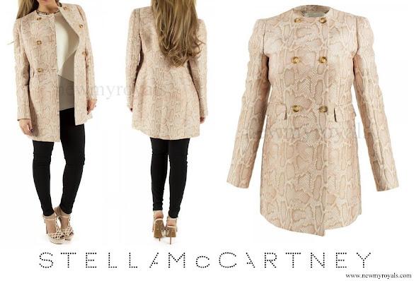 Crown Princess Mary wore STELLA MCCARTNEY Edwige snake-jacquard coat