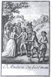 """Imagen publicada en el """"Allmanach para los amantes del teatro para el año 1791"""", que muestra la compañía de teatro de Emanuel Schikaneder interpretando la escena """"O Anton du bist mein"""" del singspiel """"Die zween Anton (or Die beiden Antons)"""" de Benedikt Schack. De izquierda a derecha: Barbara Gerl (Liesel), (silueta oscurecida), Josepha Hofer (condesa Josefa), Johann Nouseul (Graf von Dorn), Benedikt Schack (Anton Redlich), Franz Gerl (Redlich), Emanuel Schikaneder (Anton) Jakob Haibel (Conde Fritz von Dorn)."""