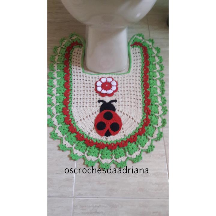 Jogo De Banheiro Verde E Branco : Os croches da adriana jogo de banheiro joaninhas usei