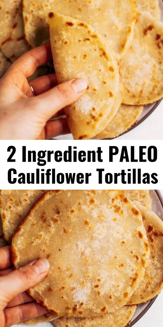 Two ingredient paleo cauliflower tortillas! Life-changing recipe for low calorie gluten free tortillas, ready in minutes! These tortillas have 42 calories and are loaded with veggies to keep you…