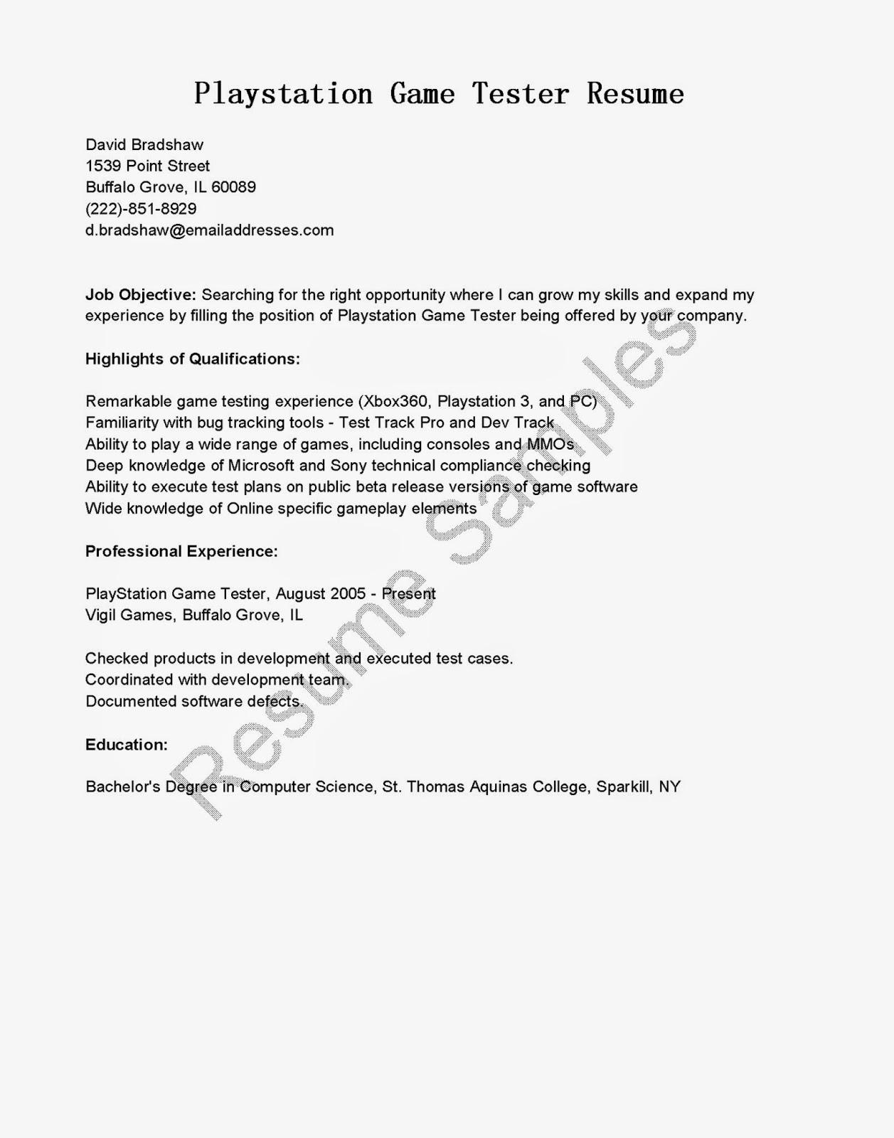 resume samples  playstation game tester resume sample