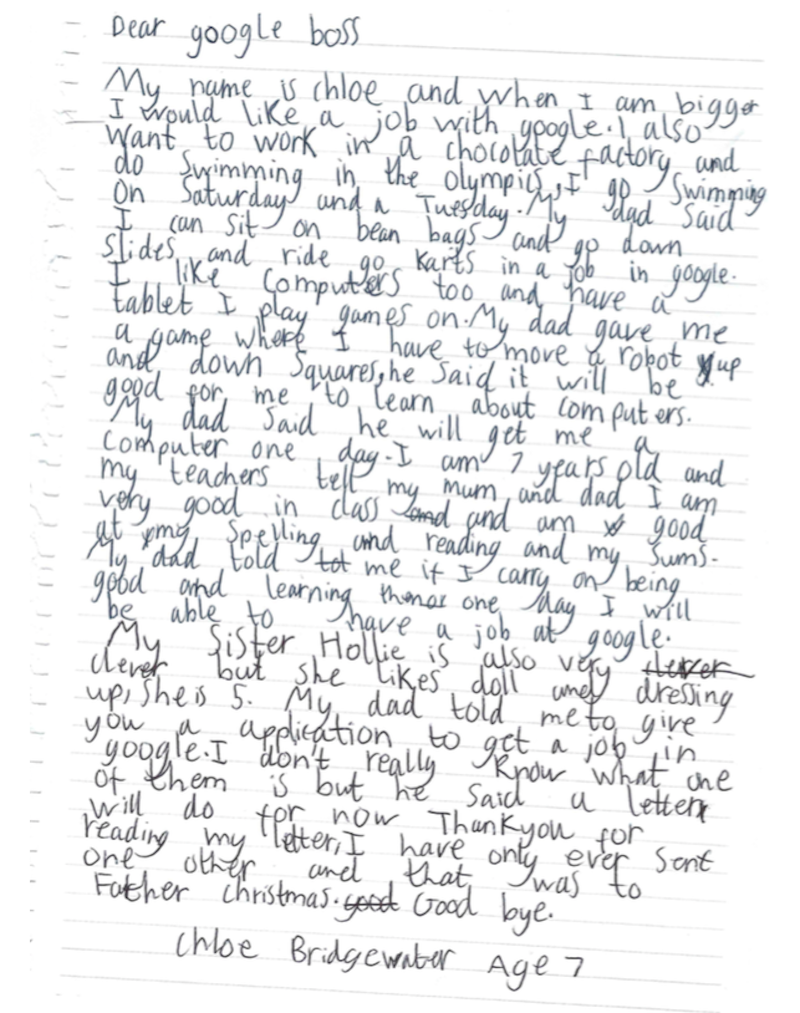 Letter Written By 7 Years Old Girl Chloe Bridgewater Who Applied For Job At Google