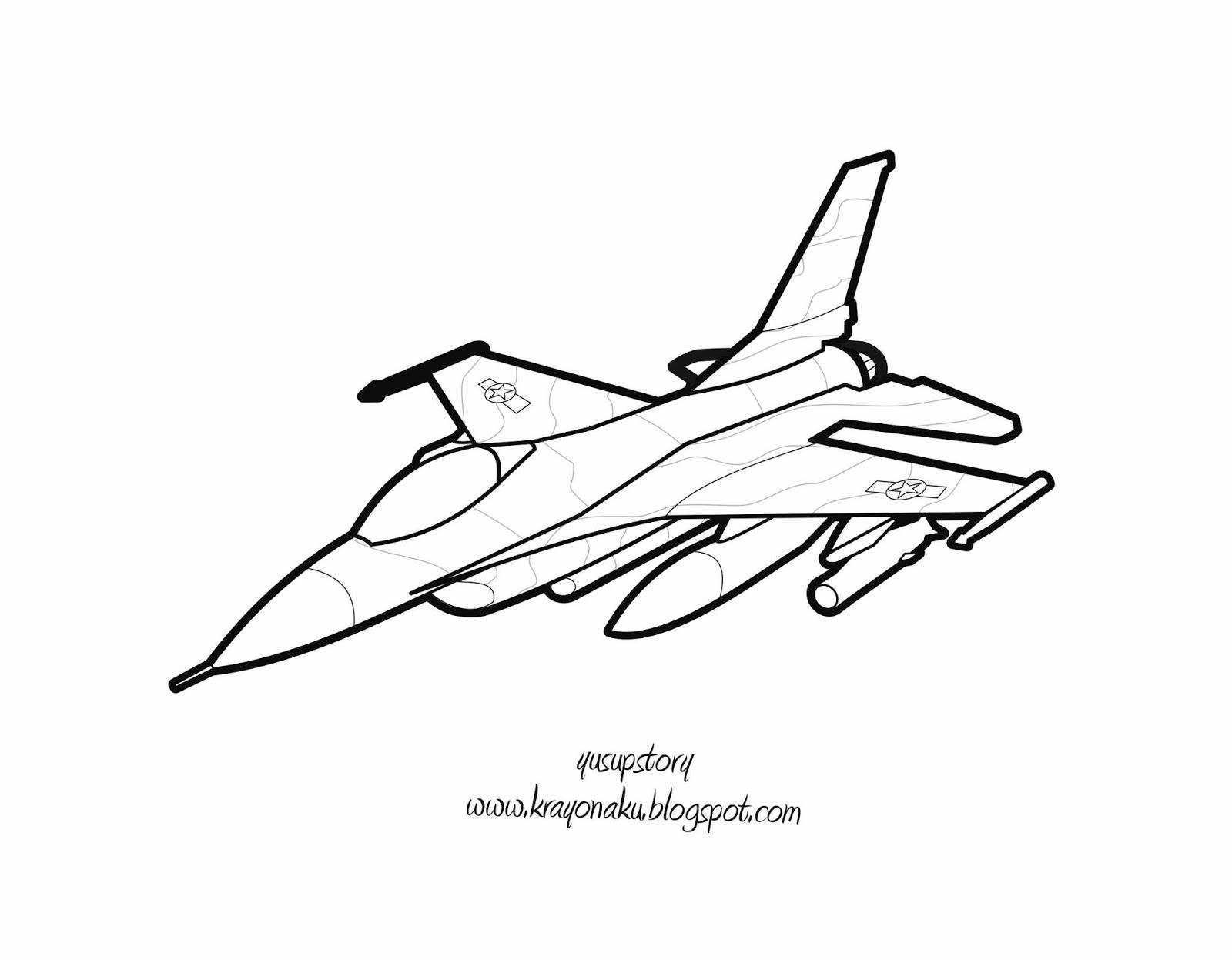 Mewarnai Coloring Pesawat Tempur F 16