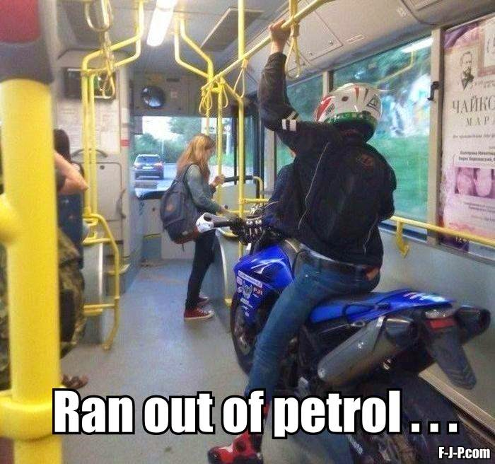 No Petrol Motor Bike Funny Joke Pictures