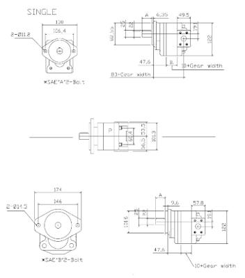 Kích thước hình học PUMP SOOSAN SAP30-40
