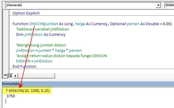 Memanggil Function Procedure Dari Jendela Immediate