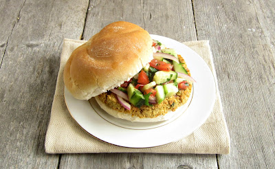 Chickpea Burger with Israeli Salad