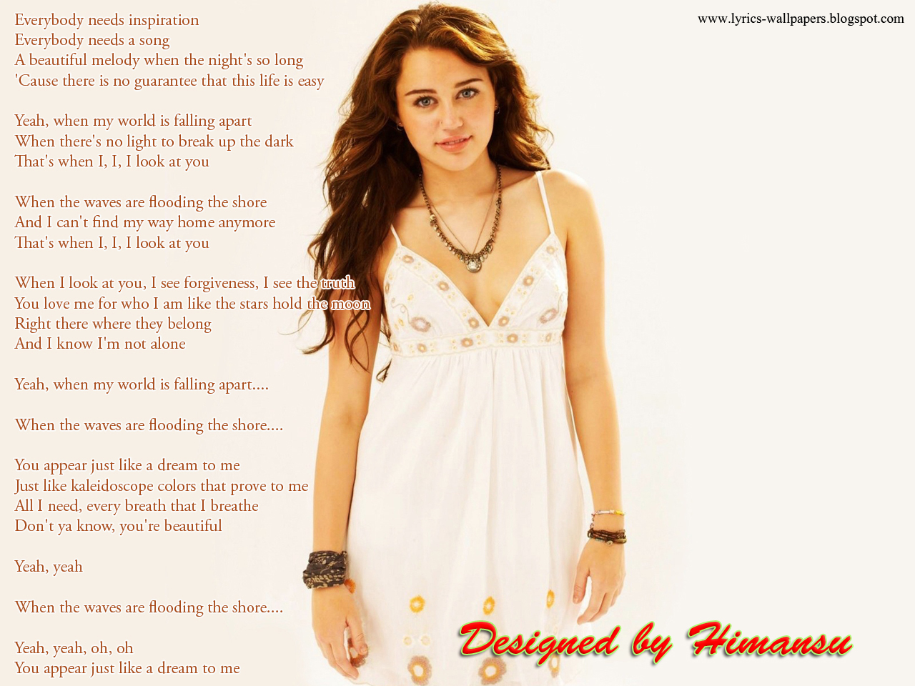 Lyrics Wallpapers: Miley Cyrus - When I Look At You