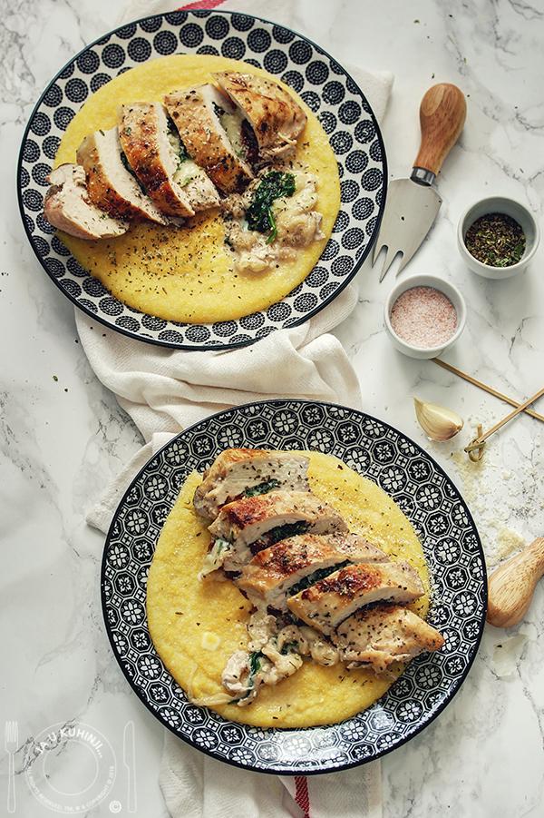 Punjena toskanska piletina na kremastoj palenti