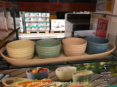You can serve salsas, dips, and snacks with the 5-piece Stoneware Serving Set