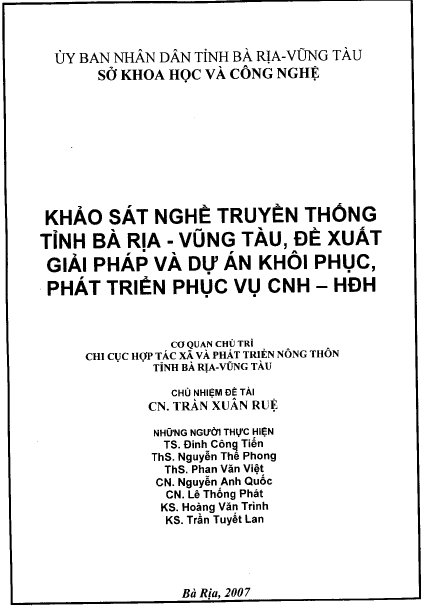 Khảo sát nghề truyền thống tỉnh Bà Rịa - Vũng Tàu, đề xuất giải pháp và dự án khôi phục, phát triển phục vụ CNH - HĐH