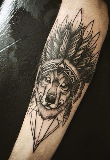 Native American Girl With Wolf Tattoo