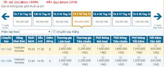 Giá vé máy bay Sài Gòn đi Quy Nhơn hãng Vietnam Airline