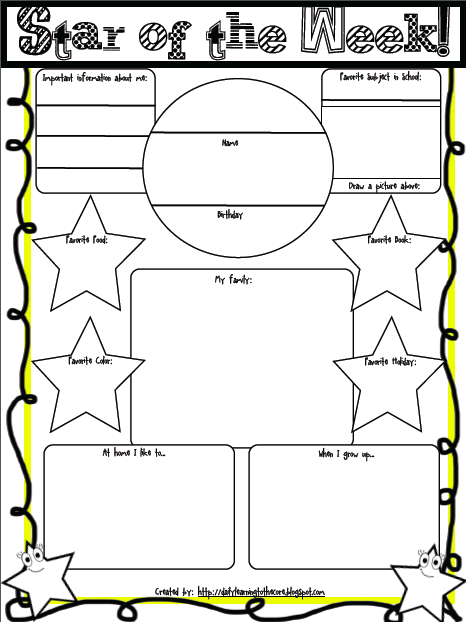 Freebie friday and a giveaway learning to the core for Star of the week poster template