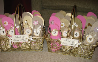 pink and brown flip flop basket