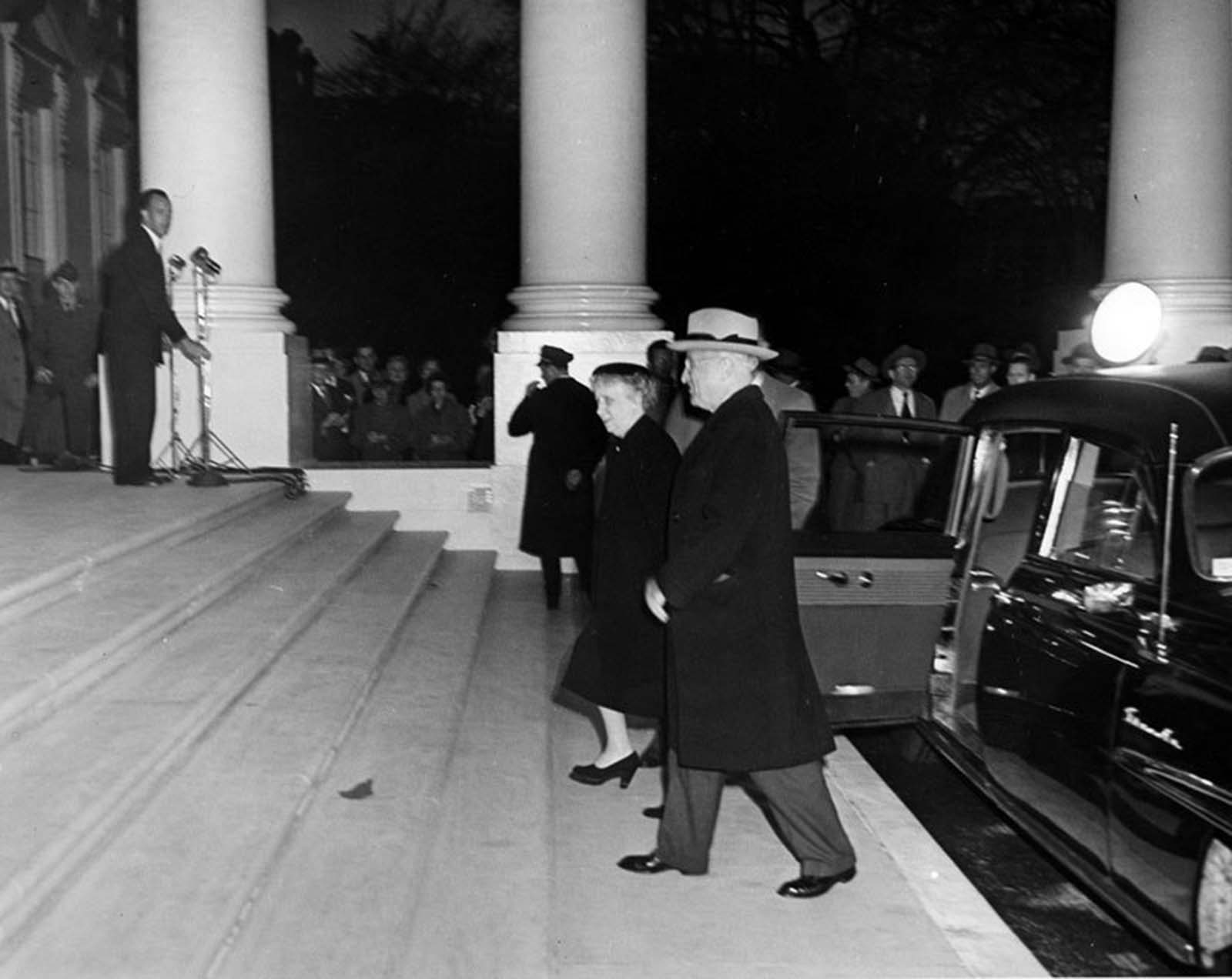 President Harry S. Truman and First Lady Bess Truman returning to the White House. 1952.