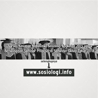 Survey Persiapan/Kesiapan Mahasiswa Sosiologi Angkatan 2015 untuk Seminar Proposal