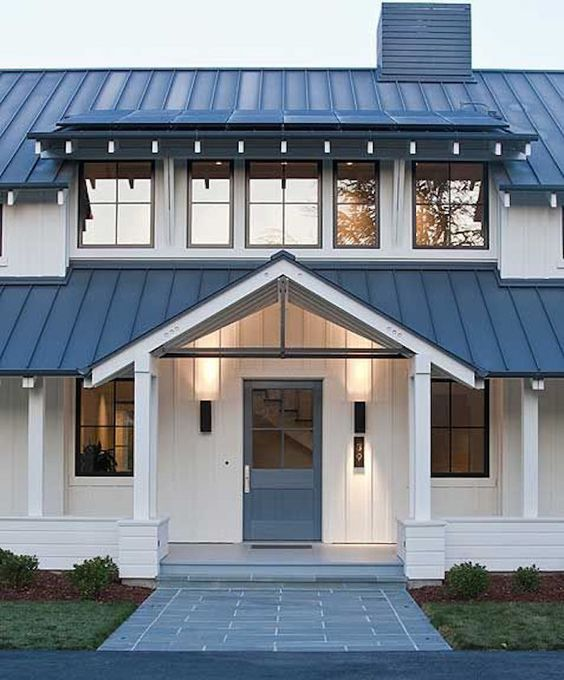 Whitehousebluegarden modern farmhouse style for Farmhouse metal roof
